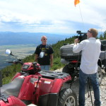 Steve Wright being interviewed near the cabin